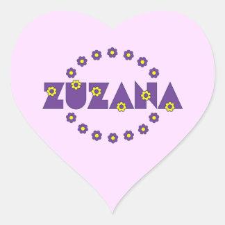 Zuzana in Flores Purple Heart Sticker