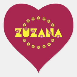 Zuzana in Flores Yellow Heart Sticker