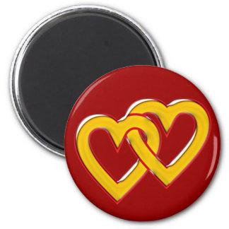 zwei Herzen verbunden two hearts connected Magnet