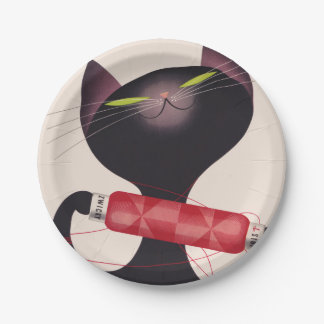 Zwicky Cat Poster by Donald Brun Paper Plate