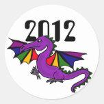 ZZ- año del dragón Sricker Pegatina Redonda