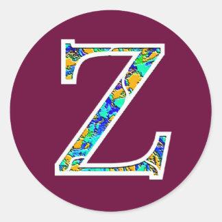 Zz iluminó el monograma pegatina redonda