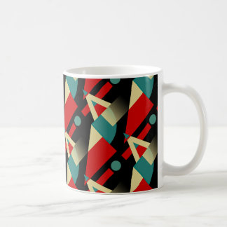 zzy Geometric Pattern | black teal red beige Coffee Mug
