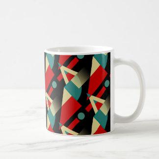 zzy Geometric Pattern   black teal red beige Coffee Mug