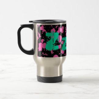 Zzz Graffiti Art Black and Fuschia Splatter Paint Travel Mug