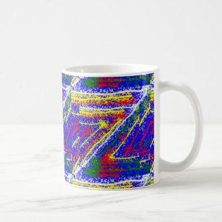 zzz  ZAZZLING Abstract Art : Royal Blue Streaks Classic White Coffee Mug